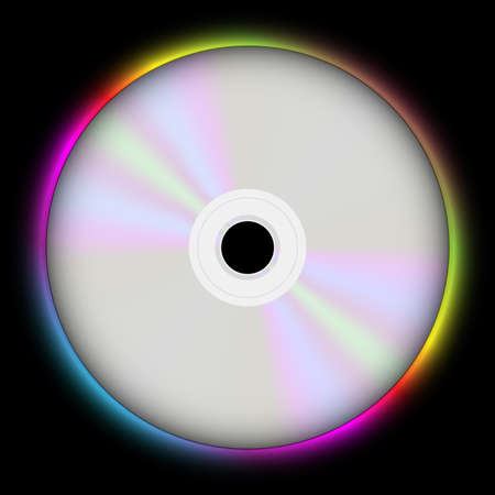 compact disk: Glowing CD Compact Disc on Black Background