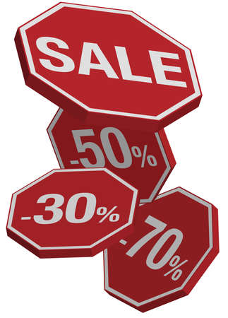 Falling Prices - Red Sale Icons Isolated on White Vector