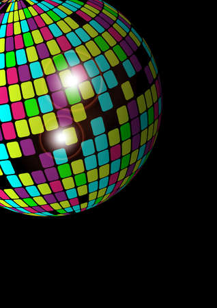 eighties: Abstract Background - Glowing Disco Ball on Black Background