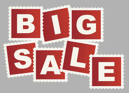 sellout: Big Sale Sign on Post Stamps Isolated on White