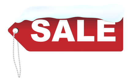 snowcovered: Winter Sale - Red Sale Sign Covered With Snow Isolated on White Illustration