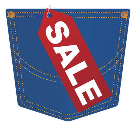 Red Sale Sign on Pocket of Blue Jeans Stock Vector - 11879069