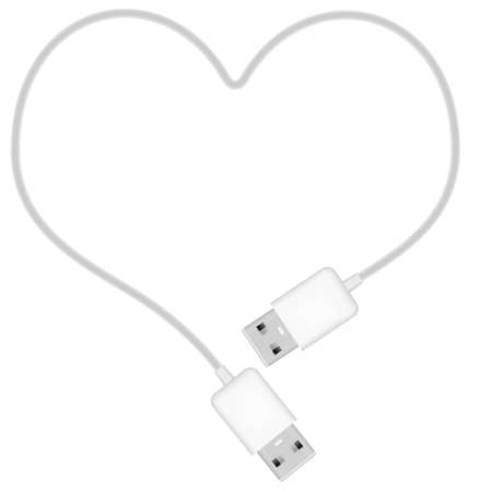 usb cable: Illustration of Heart Shaped USB Cable Isolated on White Illustration