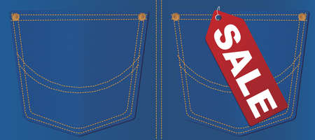 Red Sale Sign on Pocket of Blue Jeans Stock Vector - 11929155