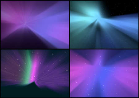 aurora: Collection of Abstract Backgrounds - Space and Aurora Borealis