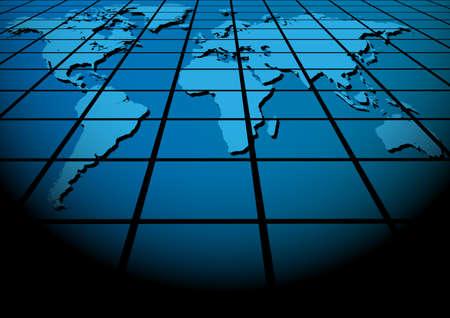 lightbeam: Abstract Background - Map of World on Blue Tiles Texture Illustration