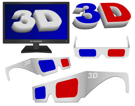 Technology - 3D Sign, Glasses and TV Set Collection Stock Vector - 12072638