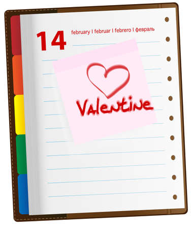 february 14th: Valentine and Heart Symbol on Note Sticker in Diary - February 14th Illustration