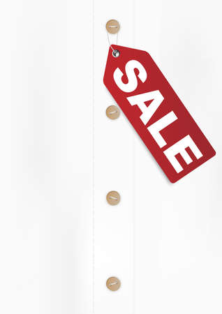 hanging out: Illustration of Red Sale Sign on White Shirt - With Copyspace