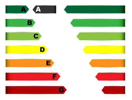 Energy Rating Graph - Collection of Labels on White Background Vector