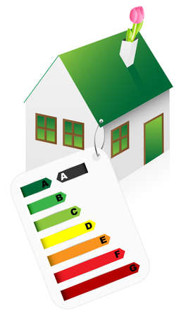 house energy: Eco Friendly House With Energy Rating Graph on White Background Illustration