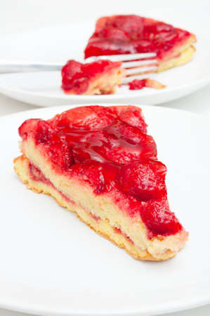 Slices of Homemade Strawberry Pie With Jelly on White Plate Stock Photo - 12221407