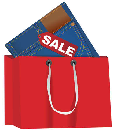 Blue Jeans With Red Sale Tag in Shopping Bag Vector