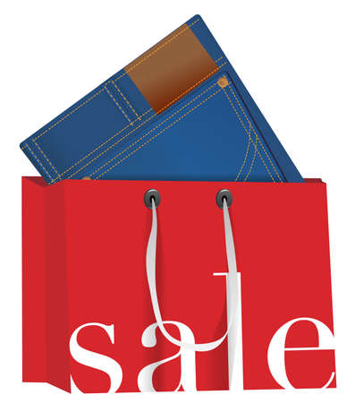clearance sale: Blue Jeans With in Red Shopping Bag With Sale Sign