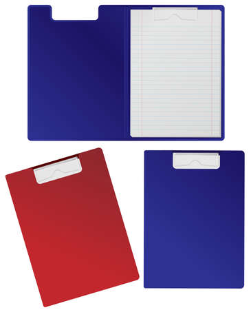 clipboard isolated: Clipboard With Blank Sheets Isolated on White Illustration