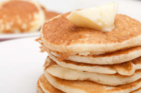 flapjacks: Homemade Pancakes With Butter and Warm Maple Syrup  Stock Photo