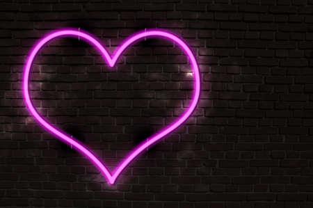 Glowing Neon Heart on Old Brick Wall