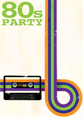 vintage music background: Retro Poster - 80s Party Flyer With Audio Cassette Tape