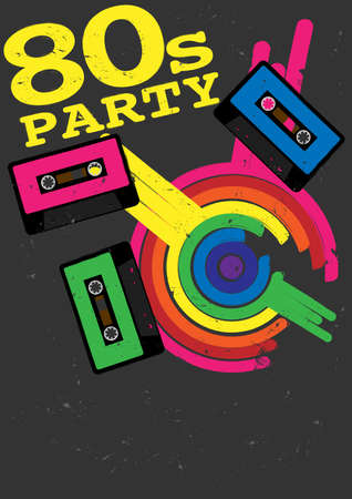 Retro Poster - 80s Party Flyer With Audio Cassette Tape Stock Vector - 12608473