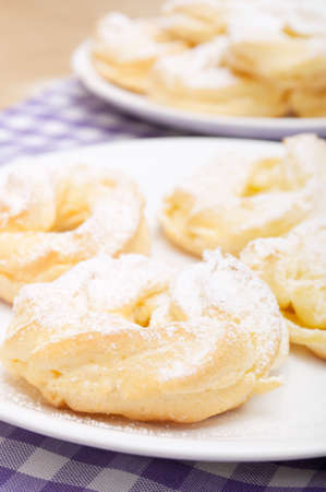Homemade Cream Puffs With Powdered Sugar Stock Photo - 12608478