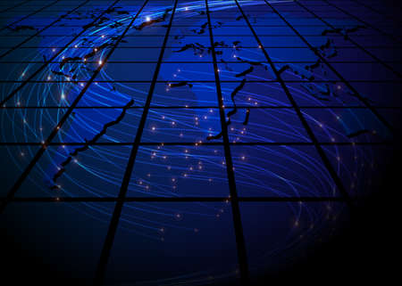 optic fiber: Abstract Background - Glowing Optical Fibers on Blue World Map