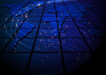 Abstracte Achtergrond - Glowing optische vezels op Blue World Map Vector Illustratie