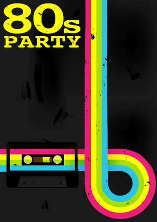 Retro Poster - 80s Party Flyer With Audio Cassette Tape Stock Vector - 12773039