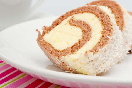 Swiss Sponge Roll With Cream on White Plate photo