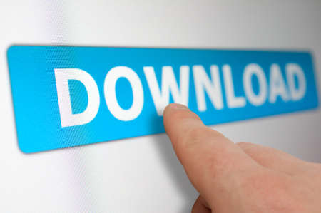 Finger Touching Download Button on LCD Screen Stock Photo - 13008906