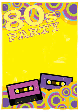 nightclub party: Retro Poster - 80s Party Flyer With Audio Cassette Tape