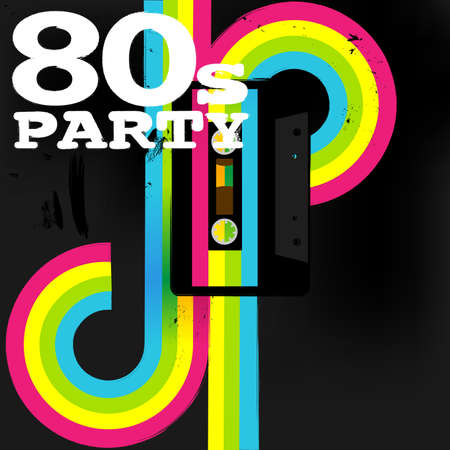 club flyer: Retro Poster - 80s Party Flyer With Audio Cassette Tape