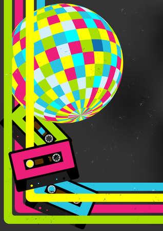 disco parties: Fondo Retro Party - Retro cintas de cassette de audio, bola de discoteca y 80 carteles del Partido
