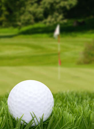 Golf Ball in Grass -  Green With Flag in Background photo