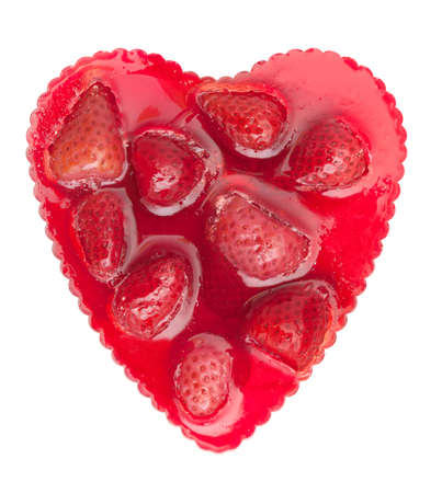 Heart Shaped Strawberry Cake Isolated on White Background photo