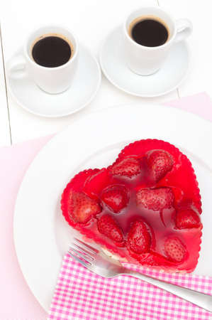 strawberry cake: Heart Shaped Strawberry Cake and Two Cups of Coffee