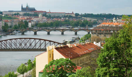 vltava: Prague Castle and Bridges over Vltava River, Czech Republic Stock Photo