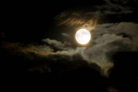 Night Sky - Glowing Full Moon and Dark Clouds