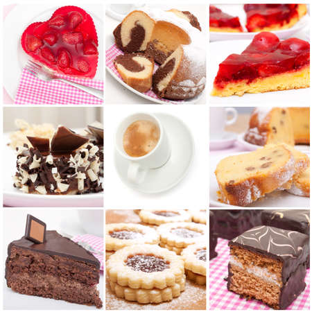 Collage of Nine Various Pies, Dessert and Cakes and Espresso Coffee photo
