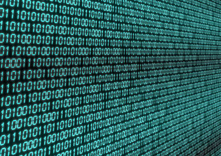 Abstract Background - Binary Code on Black Screen Banque d'images