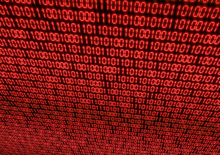 Abstract Background - Red Binary Code on Black Screen photo