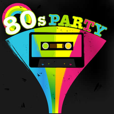 retro disco: Retro Poster - 80s Party Flyer With Audio Cassette Tape