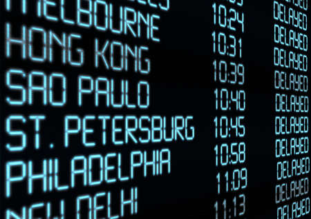the delayed: Delay - Closeup of Departure Timetable on Airport - Illustration Stock Photo