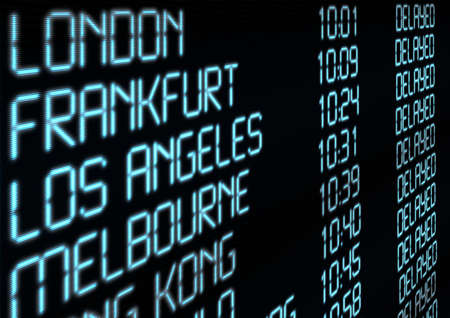 delay: Delay - Closeup of Departure Timetable on Airport - Illustration Stock Photo