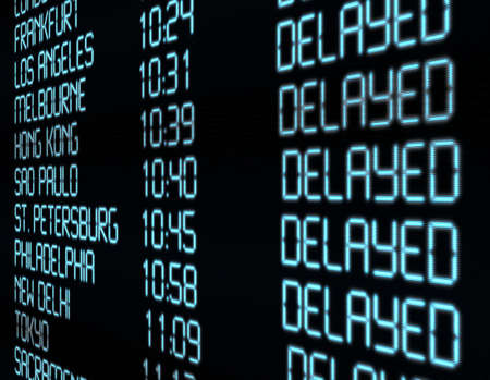 Delay - Closeup of Departure Timetable on Airport - Illustration Stock Photo