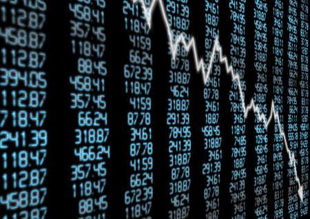 stock market crash: Stock Market - Arrow Graph Going Down on Blue Display