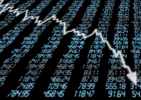going down: Mercado de Valores - Gr�fico flecha que va hacia abajo en la pantalla azul