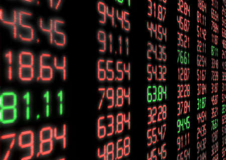 Stock Market - Red and Green Figures on Blue Display Stock Photo - 13797212