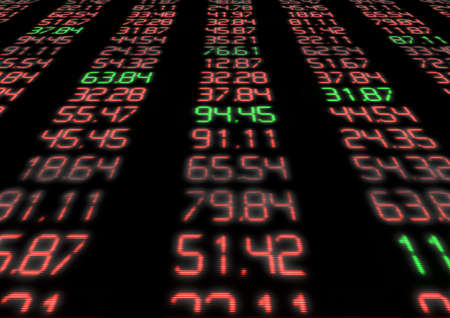 shareholding: Stock Market - Red and Green Figures on Blue Display