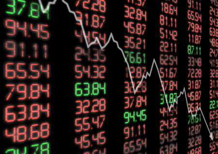 stocks and shares: Stock Market Down - Arrow Aiming Down on Display With Red and Green Figures
