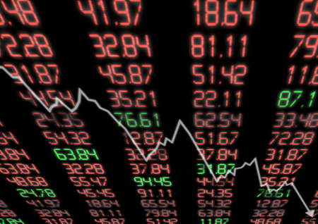 global market: Stock Market - Arrow Graph Going Down on Display with Red and Green Figures Stock Photo